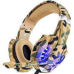 VersionTECH G9000 - Auriculares gaming estereo con micrófono - PS4, Nintendo, Xbox, Wii, PC - Camuflaje
