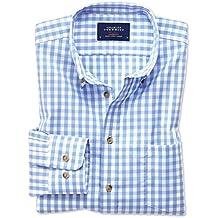 Bügelfreies Classic Fit Hemd aus Popeline in himmelblau mit Karos