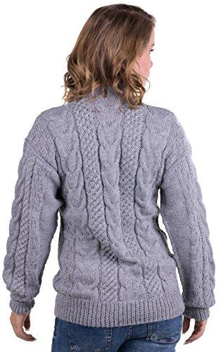 Gamboa - Alpaca girocollo maglione lavorato a mano. Estremamente caldo e morbido - Disponibile in diversi colori. Grigio