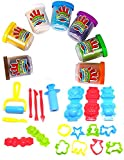 #5: Happy GiftMart 7 Color Fun Dough Clay Set With 20 Additional Tools Animal play dough mold play set DIY creative toy for kids