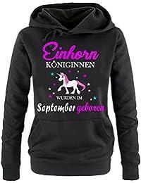 Einhorn Königinnen wurden im September geboren ! Unicorn Damen HOODIE Sweatshirt mit Kapuze Gr.S M L XL XXL schenken Birthday Party Feiern