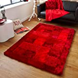Think Rugs Noble House JR-04 Shaggy Hand Tufted Rug, Red, 120 x 170 Cm