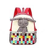 Moolecole Cartoon Kaninchen 3D Puppe Kinderrucksack Leinwand Mädchen Bookbag Red