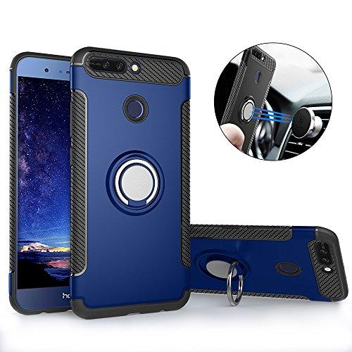Huawei Honor 8 Pro Hülle ,Honor 8 Pro Handyhülle mit Ring Kickstand - Mosoris Premium Silikon Shell mit 360 Grad Drehbarer Ständer und Handyhalterung Auto Magnet Ring , Dual Layer Stoßfest Rüstung Schutzhülle Bumper Tasche Case Cover für Huawei Honor 8 Pro , Blau