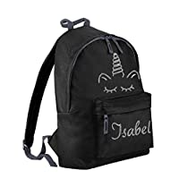 Danni Rose Girls Personalised Unicorn Backpack,Glitter Printed Backpack with Your NAM (Black)
