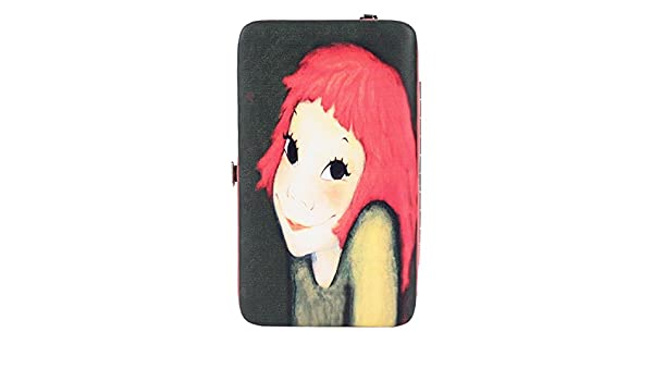 Women LeatherDog And BoneWallet Large Capacity Zipper Travel Wristlet Bags Clutch Cellphone Bag