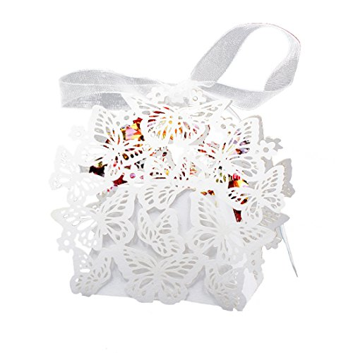 10pcs Geschenkboxen Gebäckkartons Cupcake Box mit Band Gunsten Box Pralinenschachtel für Hochzeit/Party/Geburtstag Schmetterlings-Dekoration 8x6x4cm (Boxen Chinesische Gunsten)