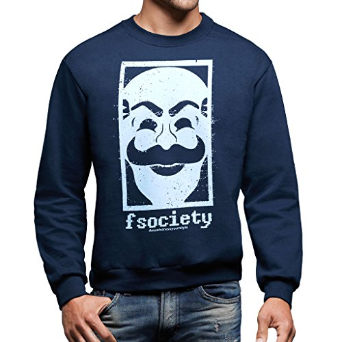 Felpa Girocollo FSOCIETY MR ROBOT BIANCO - FILM by Mush Dress Your Style - Uomo-XXL-Blu navy