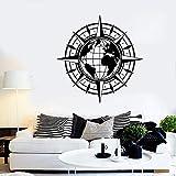 zqyjhkou World Compass Travel Earth Globe Sticker Vinilo Tatuajes de Pared Mapa Art Deco Sticker salón Dormitorio Decoración del Hogar 2dt8 57x57cm