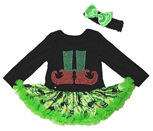 Christmas Dress Xmas Socks Print Black L/s Bodysuit Green Cats Tutu Skirt Nb-18m (12-18 (Tutu Black Kostüm Cat)