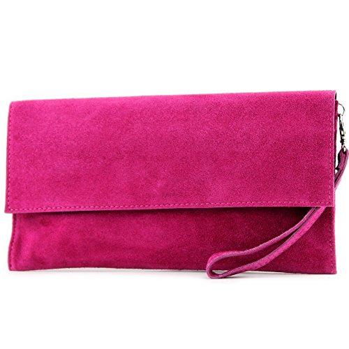 modamoda de - ital. Ledertasche Clutch Unterarmtasche Abendtasche Citytasche Wildleder T151 , Präzise Farbe:Pink
