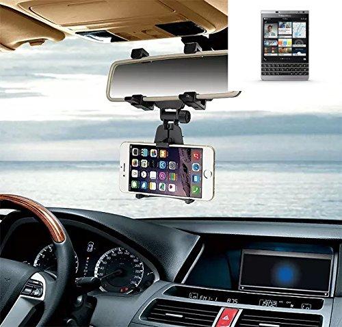 Supporto Smartphone specchietto retrovisore per Blackberry Passport Silver Edition, nero | Specchio Holder staffa auto - K-S-Trade (TM) - Guida All'acquisto Holder