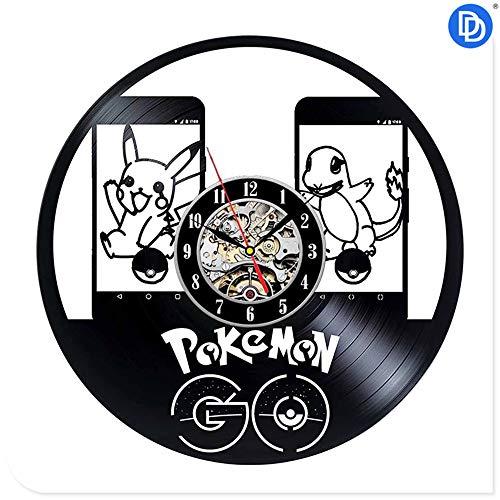 NIGHT BLACK Pokemon der Film Design Vinyl Wanduhr Cartoon Pikachu Dekoration Hängen Wanduhr Reloj De Pared, 10 Geschenk Dekorative Schallplatte Wanduhr für Weihnachten
