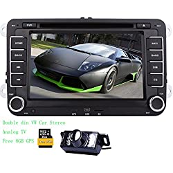 Double Din 7inch Car Stereo with Windows system In dash Auto Radio Bluetooth for VW Jetta Golf Passat EOS Support GPS Nav Analog TV AUX iPod Reverse camera 2din Headunit gps Car DVD Player Free 8GB GPS Map Card CANBUS Included Digtial Receiver Stereo