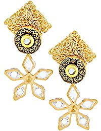 The Jewelbox Floral CZ American Diamond Antique 22K Gold Plated Kundan Dangling Earring For Women