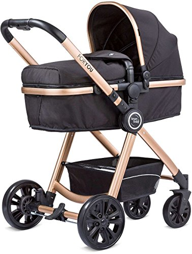 Knorr Kinderwagen Baby 860601 For You 2in1 Kombi-Kinderwagen Schwarz - Rose - Gold
