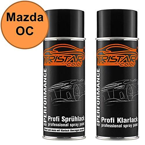 TRISTARcolor Autolack Spraydosen Set Mazda OC Clair Orange Basislack Klarlack Sprühdose 400ml