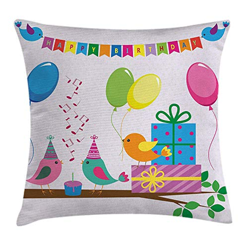 Birthday Decorations for Kids Throw Pillow Cushion Cover, Singing Birds Happy Birthday Song Flags Cone Hats Party Cake, Decorative Square Accent Pillow Case, 18 X 18 Inches, Multicolor
