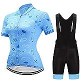 Costume de cyclisme Lady équitation costume à manches courtes Sweat-shirt à manches courtes Et Collants à lanière Transpiration respirante Convient pour le cyclisme Les sports En cours d'exécution