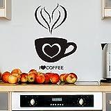 Wandtattoo in deiner Wunschfarbe I Love Coffee Kaffee Tasse Herz Küche 53x34 cm Wand Aufkleber Sticker