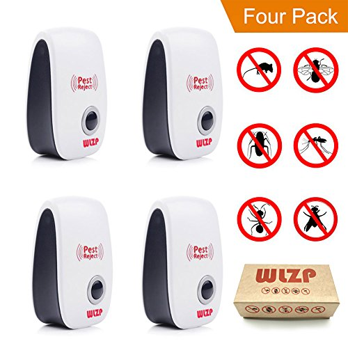 (4-pack) Ultrasonic Pest Repellent Electro Magnetic Natural Indoor Pest Control-Electronic Plug In Repellent for Insects, Roaches , Flies, Ants, Spiders, Mice, Bugs, Non-toxic, Environment-friendly, Humans & pets safe.