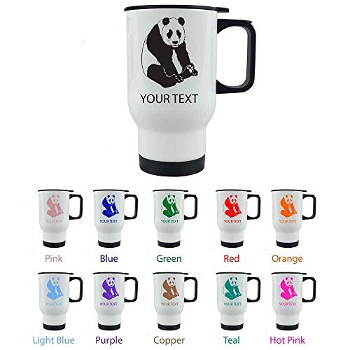 Personalized Custom Panda 14 oz White Stainless Steel Sublimation Coffee Travel Mug for Holiday Gift or Present! Contact Seller for Custom Text/Color or Leave a Gift Message at Checkout! by CustomGiftsNow