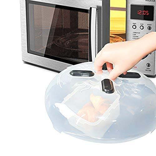 Tapa antitubular magnética cubierta de microondas, MEER Tapa protectora innovadora salpicaduras con válvulas de vapor Lavavajillas seguro BPA sin 11.2 × 3.5 pulgadas mantiene limpio el microondas