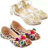 Manvi Latest Flats Jutie Sandal for Womens and Girl's Stylish Pack Of 2