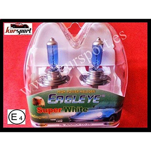 Bombillas / Lamparas H7 12V 55W halogenas luz blanca efecto xenon (2 unidades, marca Eagleye). Vienen en estuche.
