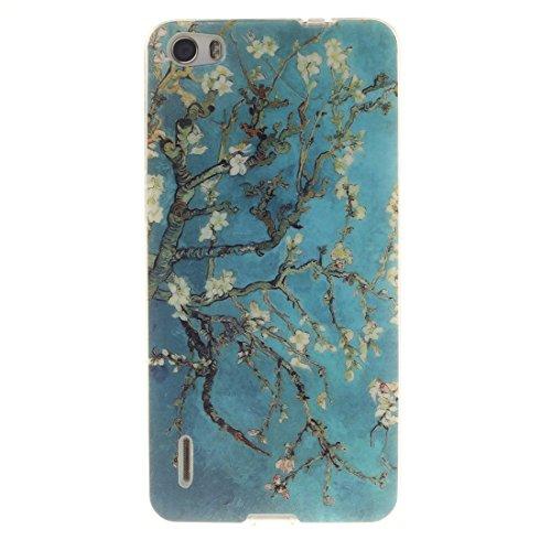 Huawei Honor 6 Hülle, Hozor Gemaltes Muster Transparent Kante Silikonhülle Ultra Slim Weich TPU Silikon Kratzfeste Handyhülle Schutz Case Backcover - Pflaumenbaum