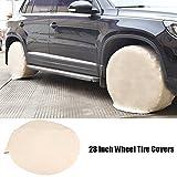 Zerone Auto Radabdeckung,Reifenabdeckung Oxford-Reifenabdeckung staubdicht, sonnenbeständig, korrosionsbeständig,UV-beständig 28inch 4 Stücke