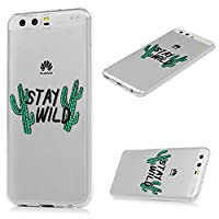 Huawei P10 Case MAXFE.CO Ultra-Thin TPU Silicone Cover Case Classic Painting Transparent Clear Rubber Case for Huawei P10 - English Cactus