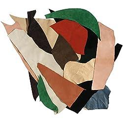 RAYHER HOBBY 8301500 - Restos de cuero, bolsa de 500 g, mezcla de colores