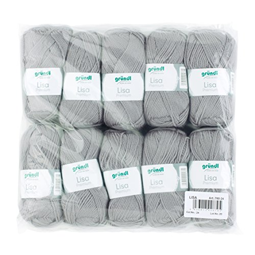 Gründl 760-24 Lisa Premium Wolle, Polyacryl, kieselgrau, 10-er Packung - Grau Wolle