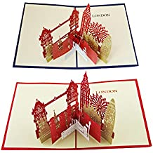 AISI Lot de 2 faite à la main 3d Pop Up Cartes de vœux Cartes vierges taille unique london