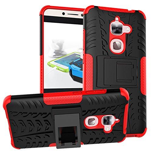 Nadakin LETV LeEco Le 2/Le S3/Le 2 Pro Hülle Schutzhülle Hybrid Rugged Phone Case Stoßfest Handys Schutz Cover mit eingebautem Kickstand Shockproof für LETV LeEco Le 2/Le S3/Le 2 Pro (Rot)