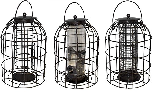 Green Jem BF6-NEW2 Dome Shaped Caged Seed Wild Bird Feeder, Brown Hammer Tone, 15.5x15.5x23 cm 3