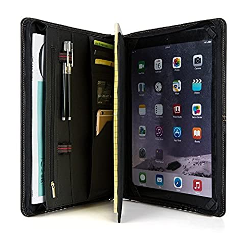 Professional Business Padfolio Organizer Genuine Goatskin Leather Conference Folder with Zippered,Compact Portfolio Case for iPad Pro 12.9, A4/A5 Notebook