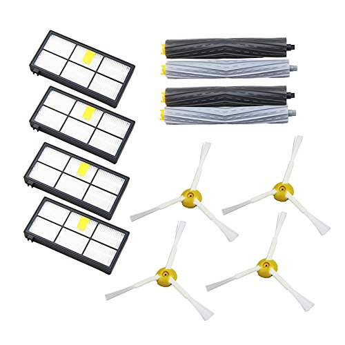 Mangobuy 12 pcs/lot d'extracteurs de débris et filtre HEPA et brosse latérale kit de pièces pour iRobot Roomba Série 800 870 880 Aspirateur