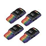 Koffergurt,Gepäckgurte- Farbig Verstellbare Kofferband mit Zahlenschloss 5 * 180cm(Rainbow,4 stück)