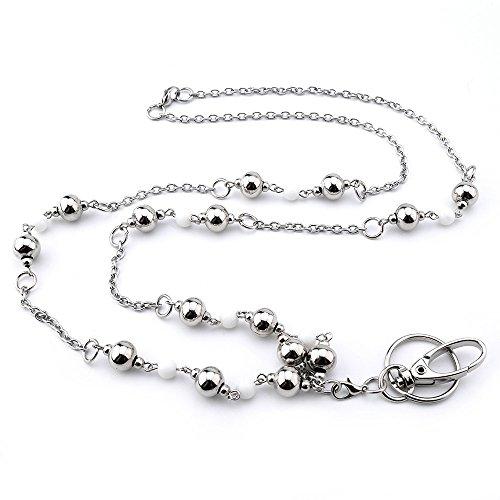 er für Schlüssel, Damen, mit silberfarbenen Perlen, Edelstahlkette ()