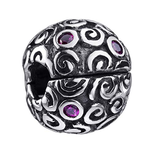 MATERIA Beads Stopper Clip 925 Silber mit Zirkonia rosa Kugel inklusive Schmuckbox #175 - Kugel Silber Mit Hülse