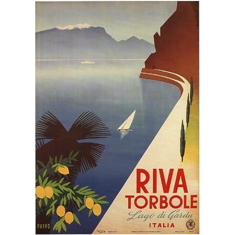 RIVA TORBOLE, LAGO DI GARDA Italia Poster di Viaggi di Mario Puppo 1926 A3 Finitura Lucida (420 mm x 297 mm)