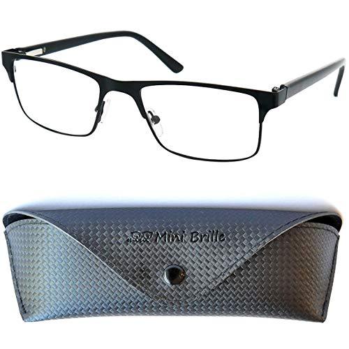Metall Lesebrille mit rechteckigen Gläsern - mit GRATIS Etui und Brillenputztuch | Edelstahl Rahmen (Schwarz) mit Federscharnier | Lesehilfe für Damen und Herren | +1.5 Dioptrien