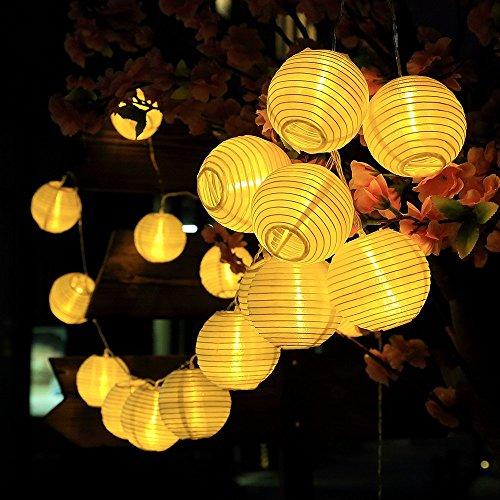 Solar Warmweiss Lampion Lichterkette mit 2m Zuleitungskabel als Solar Lichterkette aussen Partybeleuchtung LED deko ()