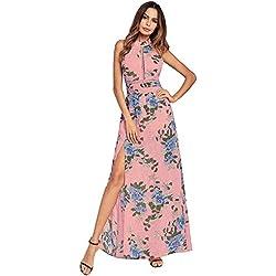 antaina Estampado de Flores Rosa Dulce Escote Alto Sin Espalda Alta Dividir Vestido Largo de la Playa de Las Mujeres,M