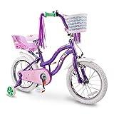 COEWSKE Kid's Bike Telaio in Acciaio per Bambini Bicicletta Little Princess Style 12-18 Pollici con Rotella di addestramento (Porpora, 14 Pollici)