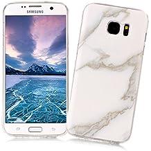 Coque Samsung Galaxy S7 EDGE XiaoXiMi Etui en Marbre Texture Housse de Protection Soft TPU Silicone Case Cover Coque Flexible Lisse Etui Ultra Mince Poids Léger Housse Anti Rayure Anti Choc pour Samsung Galaxy S7 EDGE - Blanc Enneigé