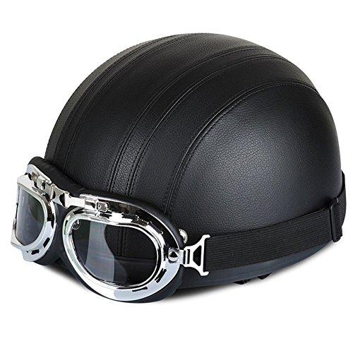 GEEDIAR 54-60cm Sport Schutzhelm Damen Herren Helm Kunstleder Skateboard Fahrrad Klettern Roller Halbhelm mit Brille und abnehmbarrem Schal an Dem Helm (Schwarz)