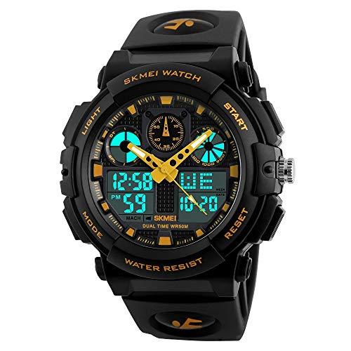 FeiWen Einfach Groß Wählscheiben Herren Sport Uhren 50M Wasserdicht Multifunktional Digitale Militär Plastik Analog Quarz Jugend Armbanduhren mit Kautschuk Band, Gelb